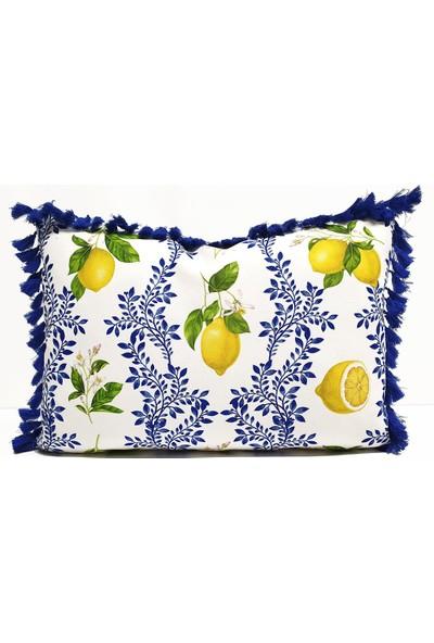 Dekorinyo Limon Çiçeği Desenli Püsküllü Dikdörtgen Kırlent Kılıfı