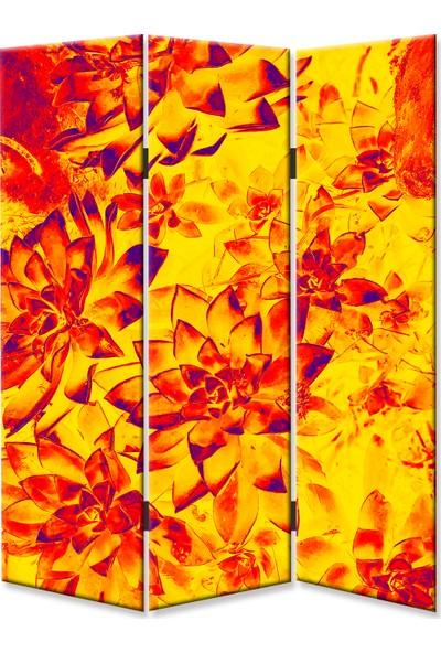 Dekoyes Çiçekler S 3 Kanat Tekerlekli Kanvas Paravan