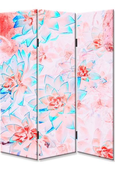 Dekoyes Çiçekler T 3 Kanat Tekerlekli Kanvas Paravan