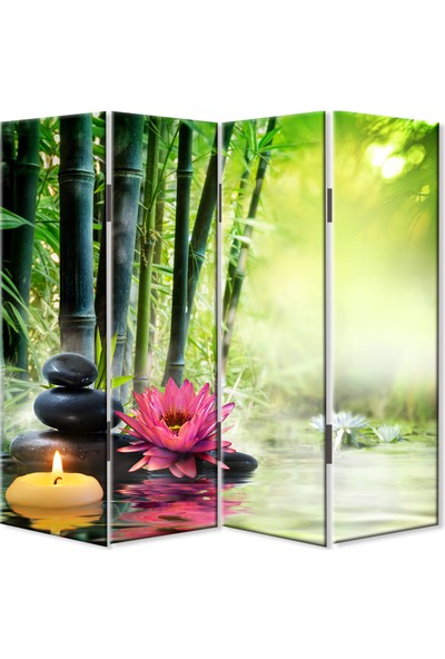 Dekoyes Bambular 4 Kanat Kanvas Tekerlekli Paravan