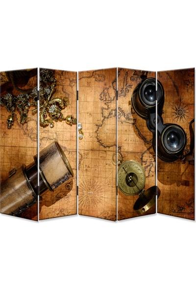 Dekoyes Eski Harita 5 Kanat Kanvas Tekerlekli Paravan