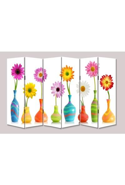 Dekoyes Vazoda Çiçekler 6 Kanat Tekerlekli Kanvas Paravan