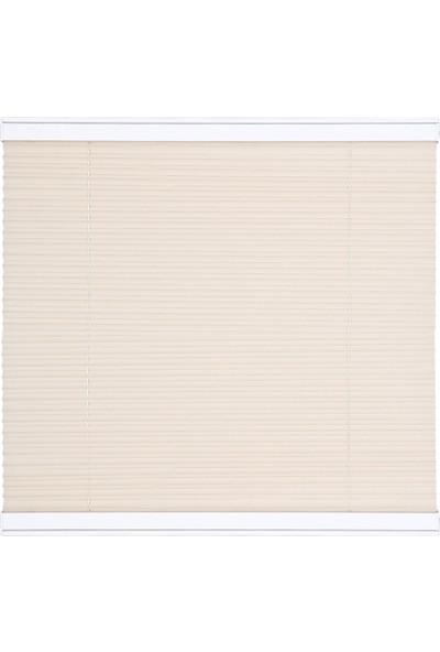 Erikmann Cam Balkon Perdesi Yapıştırmalı Plise Perde Bronz Profil Beyaz Kumaş 45 x 140