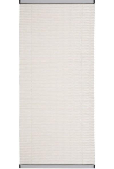 Erikmann Cam Balkon Perdesi Yapıştırmalı Plise Perde Antrasit Profil Krem Kumaş 45 x 140