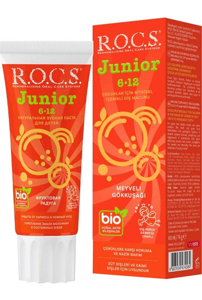 Rocs Junior Bitkisel Çocuk Meyveli Gökkuşağı Diş Macunu 60 ml - 6-12 Yaş