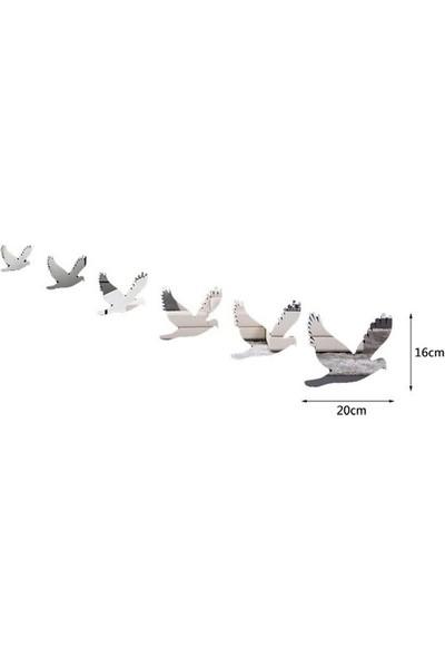 Dez Güvercinler 6 Parçalı Aynalı Duvar Dekoru