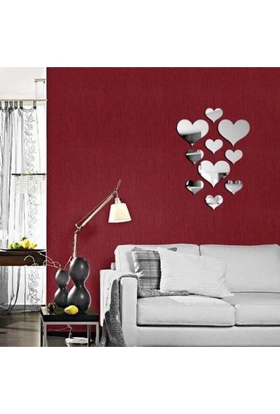 Dez Dekoratif Aynalı Duvar Sticker Kalpler