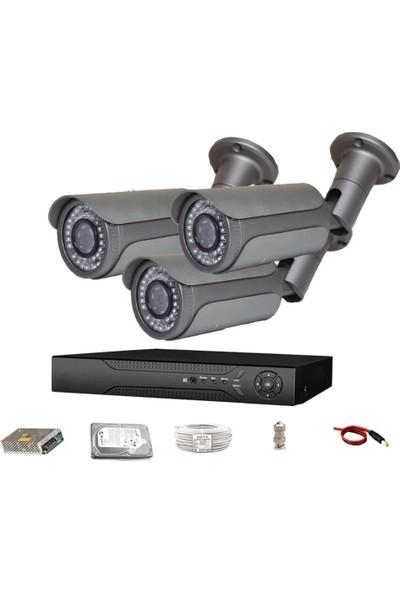 QROMAX PRO 5042 3' lü 5 Megapiksel SONY LENS 1080P Metal Kasa Güvenlik Kamerası Sistemi