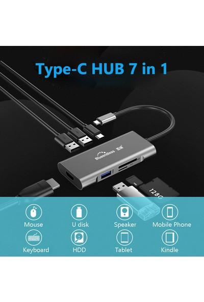 Blueendless 7 in 1 Type C To 3xUSB 3.0/HDMI/TF/SD/PD Çevirici HC701