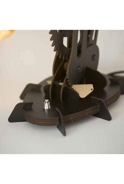 Woodact Larix Mekanik Ahşap Hareketli Masa Lambası Siyah
