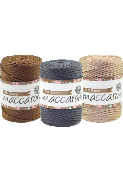 Maccaroni Polyester Kalın Makrome Hobi Ipi Kahverengi