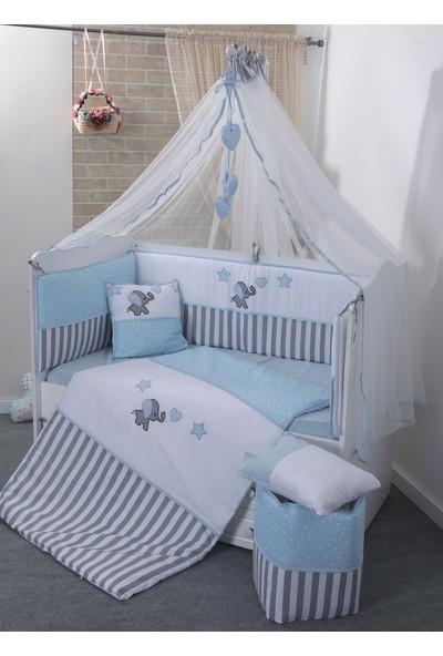 Mini Baby Acqua Mavi Bebek Uyku Seti + Cibinlik ve Aparatı