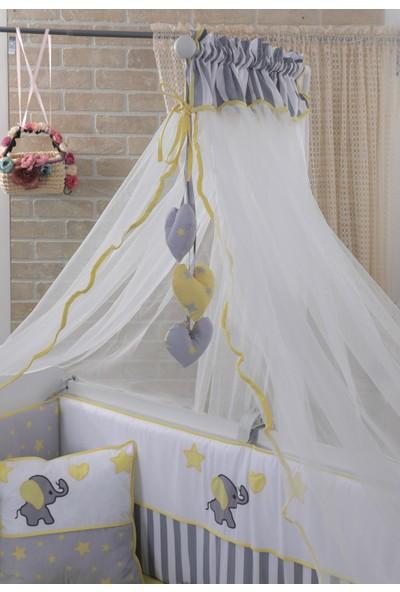 Mini Baby Acqua Sarı Bebek Uyku Seti + Cibinlik ve Aparatı