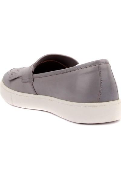 Sail Laker's Gri Deri Bağcıksız Erkek Günlük Ayakkabı