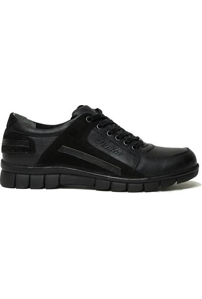 Voyager 3158 Deri Siyah Günlük Erkek Ayakkabı