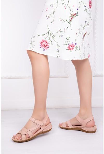 Tarçın Deri Günlük Bej Kadın Comfort Sandalet Ayakkabı Trc116-0207