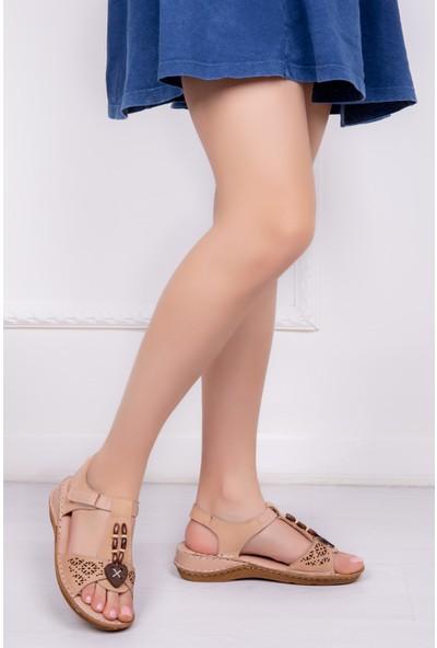 Tarçın Deri Günlük Bej Kadın Comfort Sandalet Ayakkabı Trc116-0208