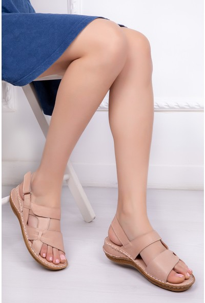 Tarçın Deri Günlük Bej Kadın Comfort Sandalet Ayakkabı Trc116-0209