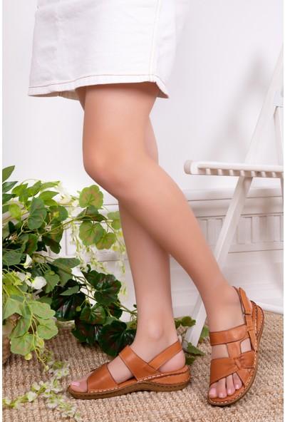 Tarçın Deri Günlük Taba Kadın Comfort Sandalet Ayakkabı Trc116-0209