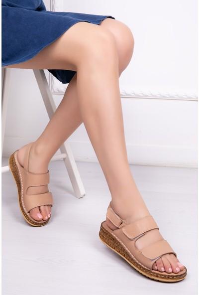 Tarçın Deri Günlük Bej Kadın Comfort Sandalet Ayakkabı Trc116-0303