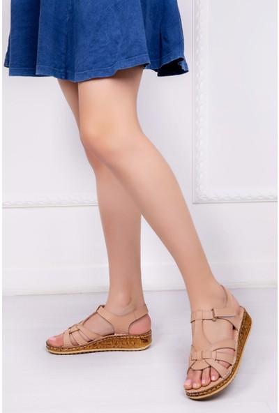Tarçın Deri Günlük Bej Kadın Comfort Sandalet Ayakkabı Trc116-0304