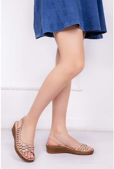 Tarçın Deri Günlük Bej Kadın Comfort Sandalet Ayakkabı Trc116-0600