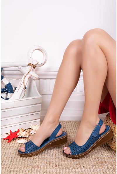 Tarçın Deri Günlük Kot Mavi Kadın Comfort Sandalet Ayakkabı Trc116-0600