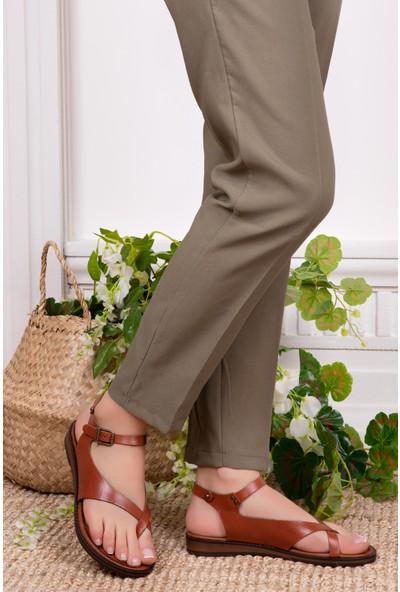 Tarçın Deri Günlük Taba Kadın Sandalet Ayakkabı Trc61-0081