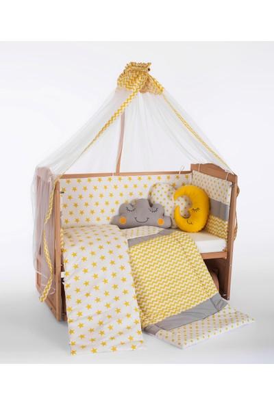 Carino Ahşap Organik Beşik Anne Yanı Beşik 3 Kademeli Lüx Bebek Beşiği 60 x 120 cm - Sarı Yıldız Uyku Setli & Soft Yataklı