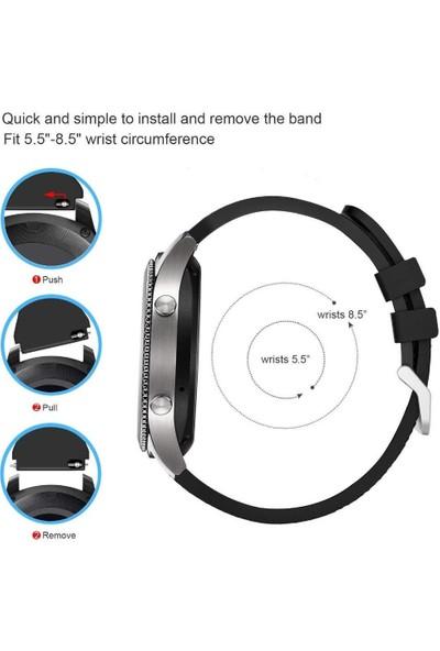 Schullz SK01 Samsung Galaxy Gear S3 Classic Frontier Silikon Kordon Kayış Siyah - Gri