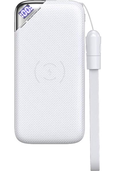 Joyroom D-M224 10.000 mAh Wise Wind Serisi Şarj Göstergeli Kablosuz Taşınabilir Şarj Cihazı Beyaz
