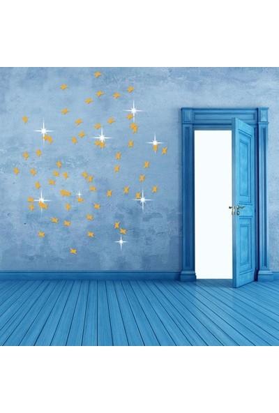 Dez Yıldızlar 50'li Tavan ve Duvar Aynası Altın