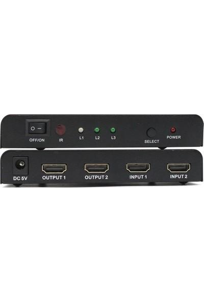 Gplus FHD202 2x2 Full Hd 60 Hz Hdcp 2 Giriş 2 Çıkış Combo HDMI Switch Splitter