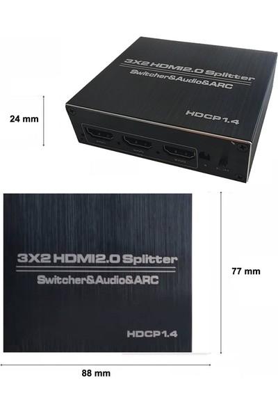 Gplus 4K322A 3x2 HDMI 2.0 4K Ultra Hd Hdr Hdcp Arc Extractor Ses Ayrıştırıcılı 3 Giriş 2 Çıkış Combo Switch Splitter
