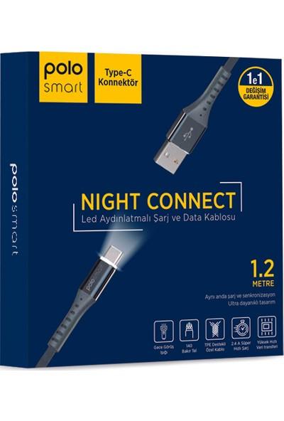 Polosmart PSM26 Type-C LED Aydınlatmalı Şarj ve Data Kablosu