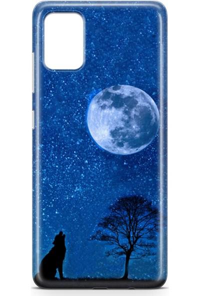 Lopard Samsung Galaxy A51 Kılıf Silikon Arka Kapak Koruyucu Gece ve Kurt Desenli
