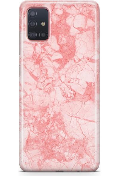 Lopard Samsung Galaxy A51 Kılıf Silikon Arka Kapak Koruyucu Pembe Mermer Desenli