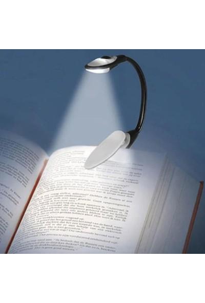 Wlue Kitap Okuma Işığı Klipsli 3 LED'li Lamba Beyaz Işık