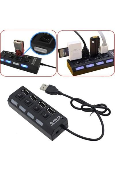 PolyGold 4 Port USB 2.0 Seri Hız Anahtarlı Işıklı USB Çoklayıcı