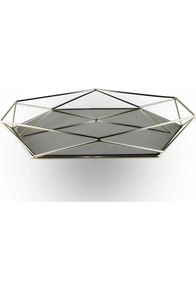 Elmas Süs Prizma Aynalı Söz ve Nişan Tepsisi Metal Gümüş Renk