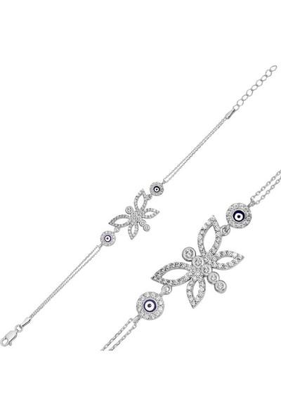 Silverella Gümüş Nazarlı Kelebek Bayan Bileklik