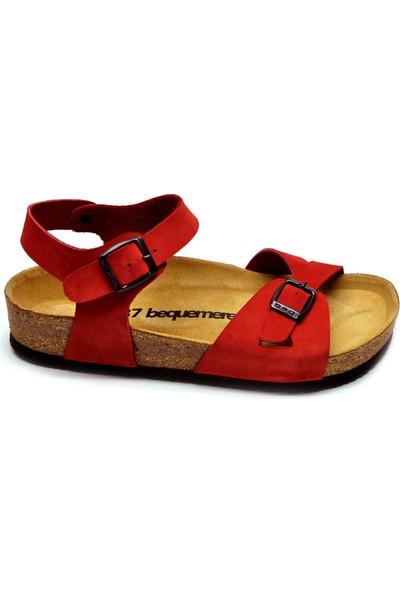 Bequemere Val Kırmızı Çift Bantlı Sandalet