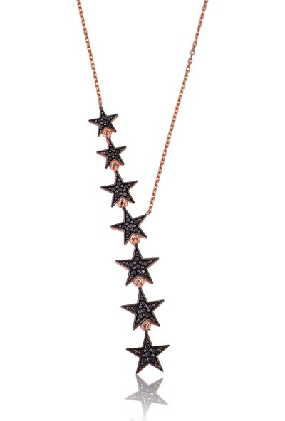Papatya Silver Siyah Nano Zirkon Taşlı 925 Ayar Kayan Yıldızlar Gümüş Kolye