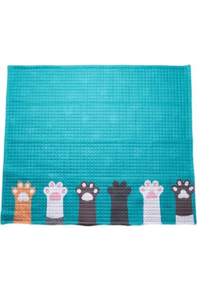 Mimiko Pati Desenli Mavi Oyun Halısı