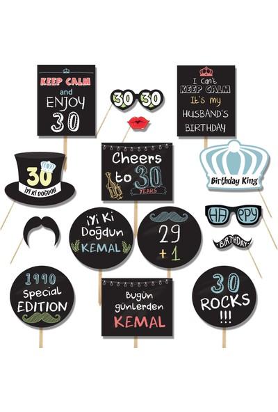 Pekshop İsme Özel 30 Yaş Doğum Günü Partisi El Pankartları Seti