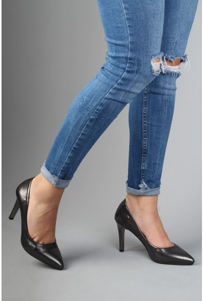Modabuymus Parlak Antrasit Gri Stiletto Topuklu Kadın Ayakkabı - Anger