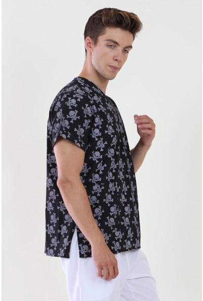 Moda Canel V Yaka Desenli Erkek Üst Ceket
