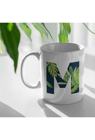 Bi Tıkla Gelsin Tropikal Desenli İsme Kişiye Özel M Harfi Porselen Kupa Bardak - ALF013