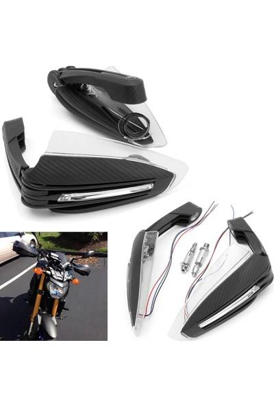 Knmaster Çift Ledli Karbon Motosiklet Elcik Koruma Siyah