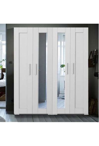Dekorex MNT-412-BEYAZ -Dört Kapaklı Aynalı Gardırop